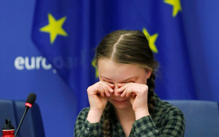 Swedish environmental activist Greta Thunberg cries at the end of her speech to the environment committee of the European Parliament in Strasbourg, April 16, 2019.   REUTERS/Vincent Kessler - RC1B396987E0